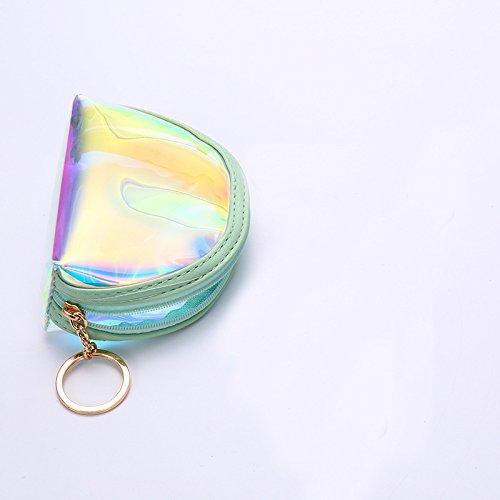 Shuda 1 Pcs Femmes Mini Pochette Mignon Transparent PVC Petit Porte-Monnaie Mini Trousse Petite Pochette Poche Sac De Rangement 8.5CM 10 Violet