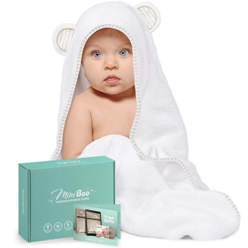 Organic Bamboo Baby Hooded Towel – Ultra Soft and Super Absorbent Baby Towels for Newborns, Infants and Toddlers…