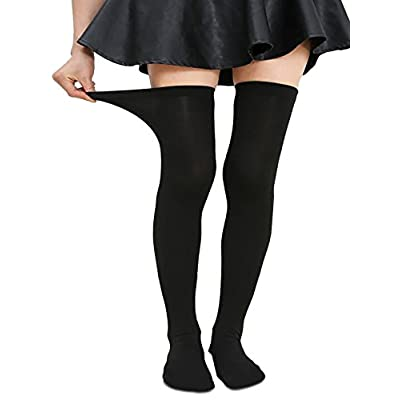 Zando Women Plus Size Over the Knee Thigh High Socks Thin Tube Cosplay Long Tights Solid Sport Thigh High Stocking Socks 1 Pack Black Prime US Size 8-12: Clothing