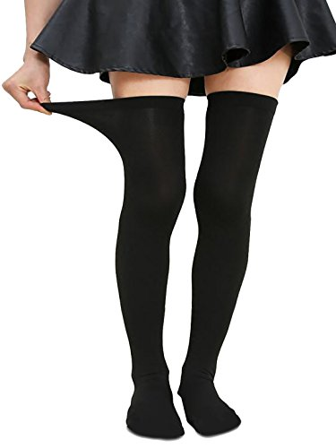Zando Women Plus Size Thigh High Stockings Thin Over the Knee Tube Socks Long Sport Tights Striped Leg Warmers Sock