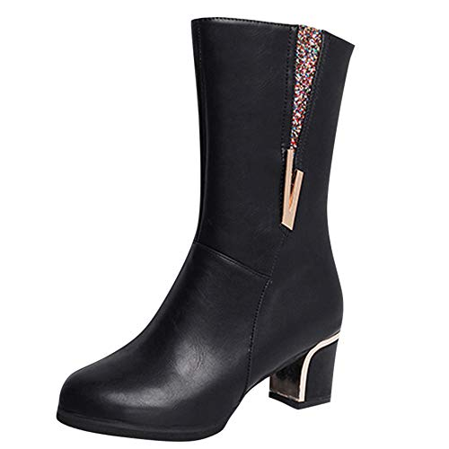 Women's Ladies Square Heel Crystal Rainbow Boots, NDGDA Winter Snow Mid-Calf Shoes (Black, ()