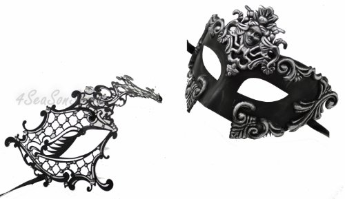 His And Hers Masks For Masquerade Ball (Silver Madusa & Metal Phantom - His & Hers Masquerade Couples Venetian Design Masks 2 Piece Colored Set - Perfect Couple Mardi Gras Majestic Party Halloween Ball Prom)