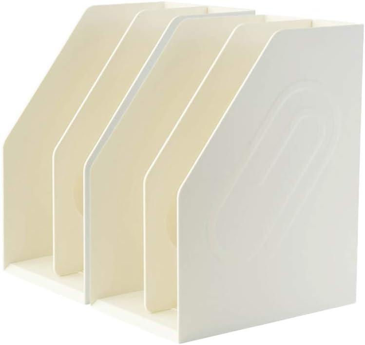 Lunmore Magazine File Holder Magazine Rack Book Bins Desk Organizer, Off White, 2 Pack