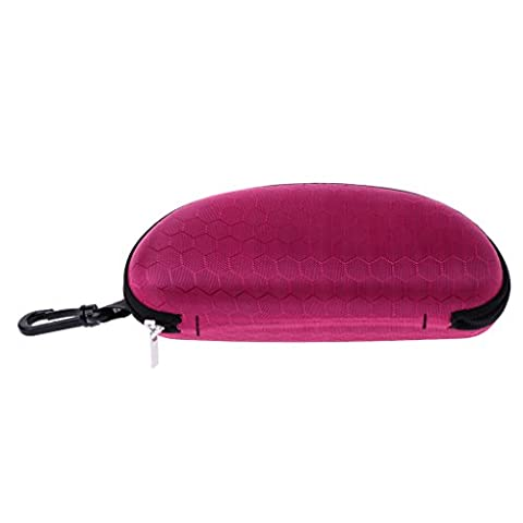 Hunulu Portable Zipper Sunglasses Hard Eye Glasses Case Eyewear Protector Box Bag Cover (Hot Pink) (Aluminum Case Sunglasses)