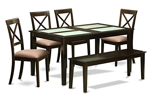 East West Furniture CABO6G-CAP-C 6 Piece Glass Table Top Inserts and 4 Dining Room Chairs with Bench