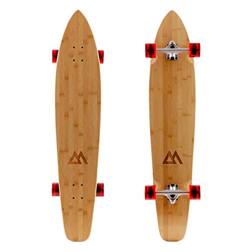 Magneto 44 inch Kicktail Cruiser Longboard Skateboard | Bamboo and Hard Maple Deck | Made for Adults, Teens, and Kids