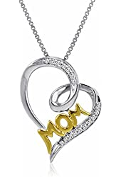 Sterling Silver and 14K Gold Diamond Mom in Heart Penant (1/10ct tw)