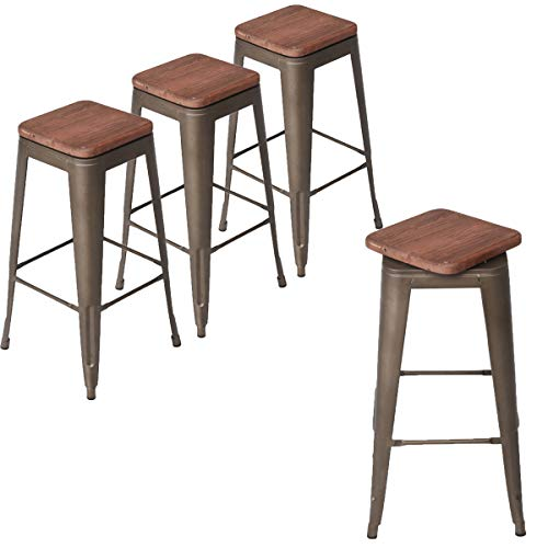 Andeworld Set of 4 Swivel Counter Height Bar Stools Industrial Metal Bar Stools Indoor-Outdoor, Stackable (Rusty with Wooden Top, Swivel 30 Inch)