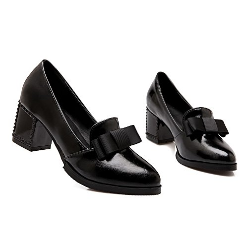 WeenFashion Pumps Pointed Solid On Heels Toe Black Kitten Pull Women's Closed Shoes rxzRrt