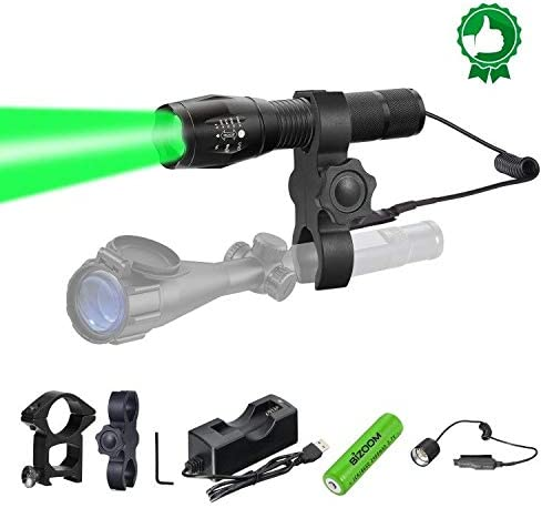 BIZOOM Hunting Light Green LED Flashlight Kit, KL45 Upgraded Super Bright Long Throw T6 Predator Light, Scope Mounted Zoomable Torch with Dual Control Remote Switch, for Hogs, Coyotes, Varmints