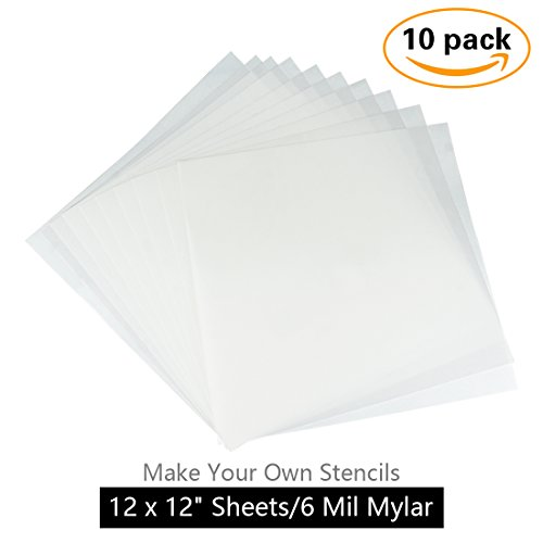 Make Your Own Stencil - 10 Pack 6 Mil 12 x 12 inch Blank Stencil Sheets - Ideal for Use with Cricut & Silhouette Machines(Mylar - Silhouette Transparent