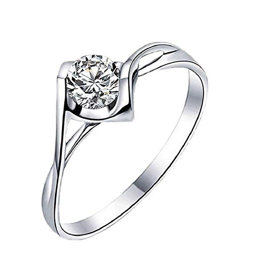 (FAVOT Simple Silver-plated Twisted Flower Intertwined Women Ring Four-jaw Zircon Angel Heart-shaped Opening Adjustable Ring Wedding Jewelry (Silver) )