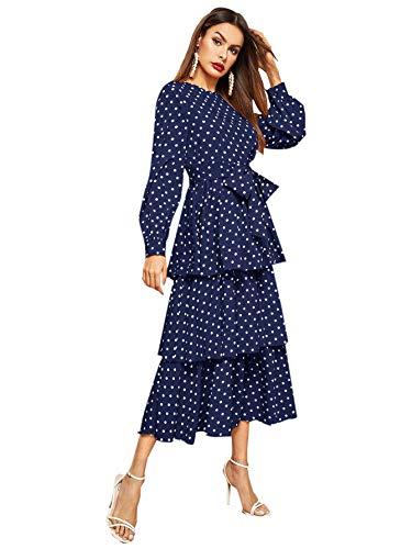 ROMWE Women's Elegant Vintage Polka Dot Lantern Long Sleeve Belt Layered Ruffle Hem Midi Dress Navy Small