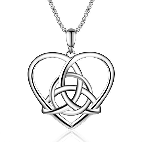 925 Sterling Silver Vintage Good Luck Irish Celtic Knot Triangle Love Heart Pendant Necklace, 18'' Celtic Triangle Necklace