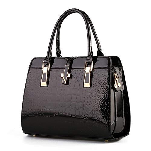 (RFVBNM Woman Handbag Large-Capacity Glossy Styling Bag Crocodile Shoulder Bag Top Handle Fashion Handbags Gorgeous Tote,Black)