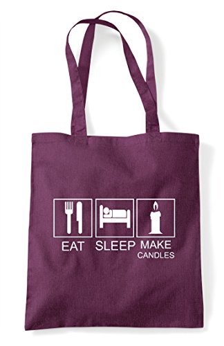 Plum Candles Make Activity Funny Bag Tiles Shopper Hobby Eat Sleep Tote 4qFvw4T