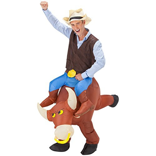 Totally Ghoul Bull Rider Airblown Costume, Men's, one size fits most (Bull Rider Costume)