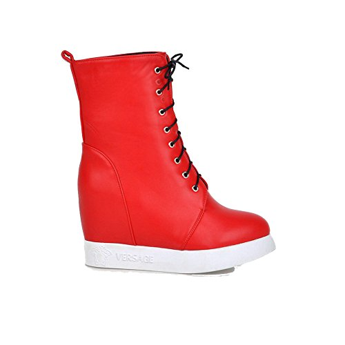 AgooLar Damen Schnüren Rund Zehe Hoher Absatz Niedrig-Spitze Stiefel, Rot, 39