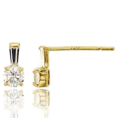 14K Yellow Gold 3mm Rd and Tapered Baguette Stud Earring