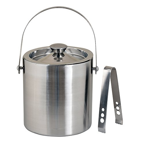 Kosma Stainless Steel Double Wall Ice Bucket with Tongs | Ice Cube Bucket - 18 x 15 cm by Kosma