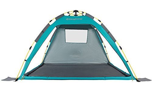 KingCamp Beach Sun Shelter UPF 50+ Family Camping Tent for 4-Person with Detachable Three Side Walls (Cyan)