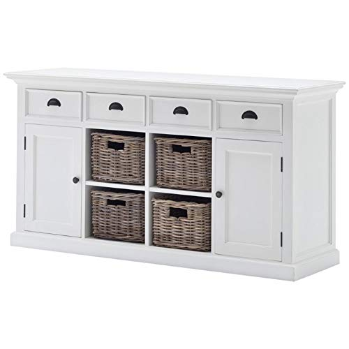 NovaSolo Halifax Pure White Mahogany Wood Sideboard Dining Buffet With Storage, 4 Drawers And 4 Rattan Baskets (Indonesia Chic Shabby Furniture)