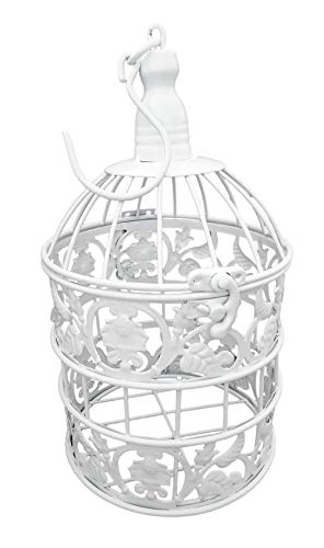 PET SHOW Round Birdcages Metal Wall Hanging Bird Cage for Small Birds Wedding Party Indoor Ourdoor Decoration 9.8INCH White Pack of 1
