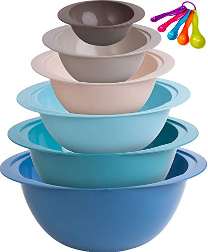 Plastic Mixing Bowl Set - 6 Stackable Nesting Bowls + 5 Measuring Spoons for Cooking & Baking - Small and Large Plastic Bowl Cooking Supplies for Serving, Popcorn, Salad, Meal Prep, More by Monka