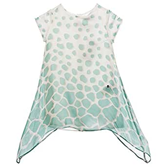Roberto Cavalli Junior Blue Round Neck Asymmetrical Top For Girls