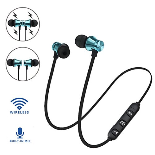Dirance BT 4.2 Wireless Magnetic in-Ear Sports Stereo Bass Earbuds Earphone Headphone with Mic for Cellphone Tablet Laptop (Blue)
