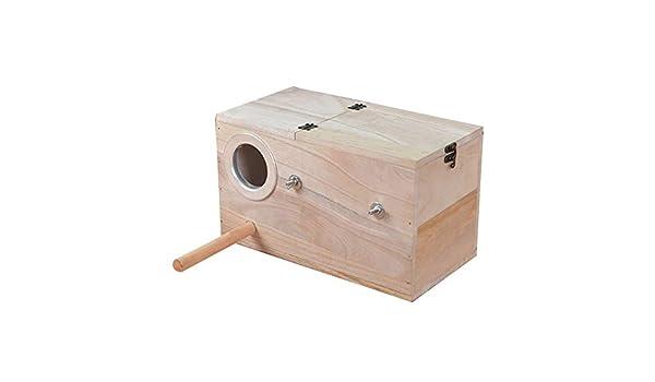 ASDFGG Chat y el nicho Periquito para Mascotas Caja Nido Casa de Aves Casa de cría de Madera de Budgie para Jaula de Loros periquitos (Color : Wood, tamaño : 24.5 *