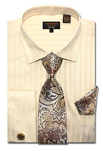 - Christopher Tanner Men's Regular Fit Dress Shirts with Tie Hanky Cufflinks Combo Striped and Herringbone Pattern Ivory