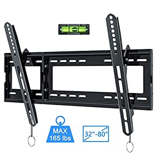 KDG Tilting TV Wall Mount for Most 32-80 Inches LED LCD TVs, Low Profile TV Mount Bracket with Quick Release Strap Max VESA 600x400mm, 165LBS Loading Capacity, Includes HDMI Cable and Level