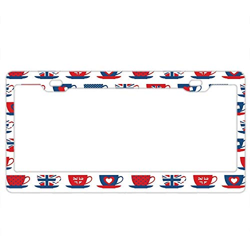 A smiling eye Great Britain Themed Teacup Forms Patterned Union Jack Hearts Flags License Plate Frame Covers Novelty Auto Car Tag Soldiers Firemen Vanity Gift