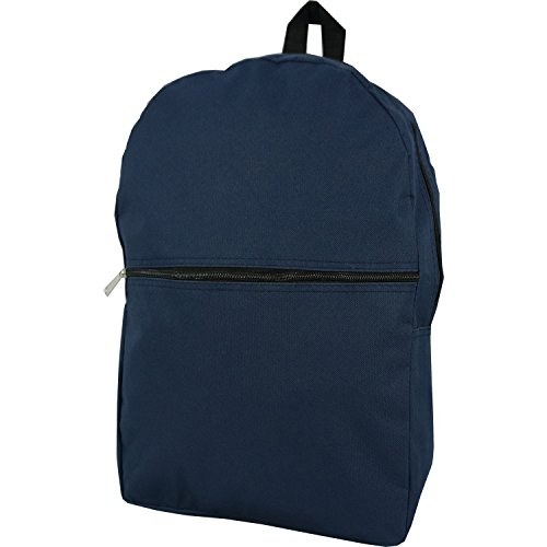 Wholesale Classic Backpack 17 inch Cheap Basic Bookbag Bulk Case Lot of 50pcs Simple Schoolbag Promotional Backpacks Low Price Non Profit Giveaway Student School Book Bags Vintage Daypack Navy Blue