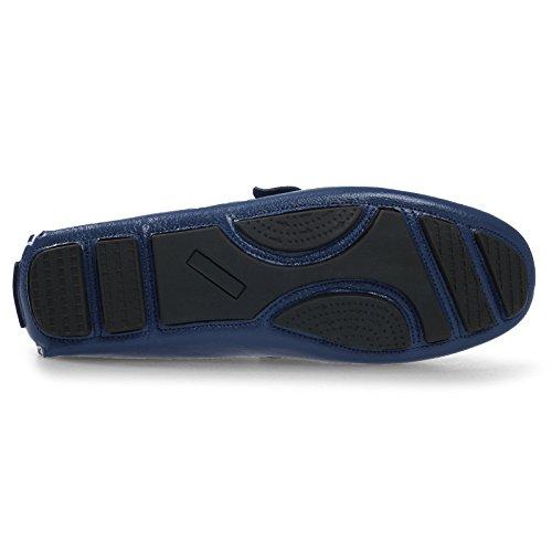 Metal Decoración Azul Blue Marrón de de Hombres de 370 de Barco Hilo Decoración Hombres Costura Cuero Negocios Zapatos los Negro de Verano Zq74wvp