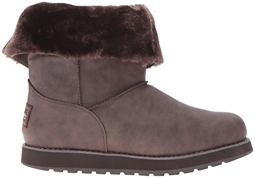 Skechers Leatherette Marron Brun Button D'hiver Botte Mid Brn Femme Keepsakes ZZqwx75v