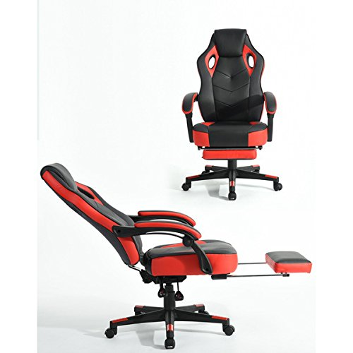 Black and Red Racing High Back Chair 360 Degree Swivel Office Chair Executive PU Leather High Back Race Computer Game Adjustable with Recline Footrest