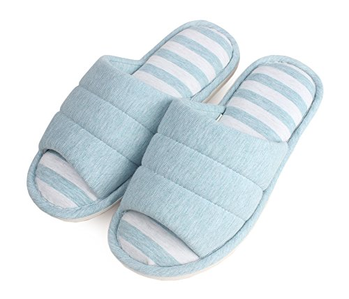 FhiFA Women's Indoor Knitted Cotton Home Flat Skidproof House Slippers Blue X-Small(for US Women 6-7) by PhiFA