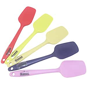 Dianoo Heat Resistant Silicone Shovel, Small square Kitchen spatulas, Best for Nonstick Cookware, 8 Colors, 2PCS (the colors will be sent at random)