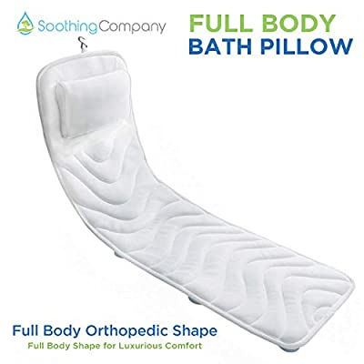 Full Body Bath Pillow by Soothing Company | Comfortable Bathtub Back and Head Rest Pillow for Relaxation | Spa Cushion for Hot Tub | Quick Drying, Machine Wash Safe | Fits Most Tubs | 50 Inches Long