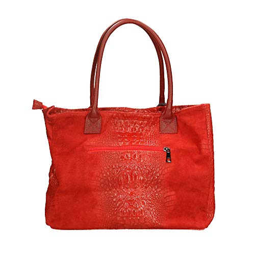 Rosso Italy A Cm Pelle In Bag Borsa Borse Made 53x30x16 Chicca Mano qxfTpBAO