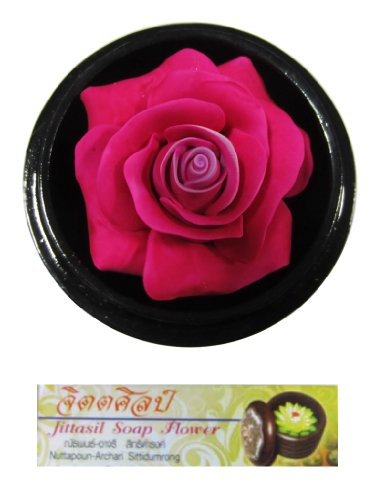 Jittasil Thai Hand-Carved Soap Flower, 4 Inch Scented Soap Carving Gift Set, Pink Rose In Decorative Wood Case