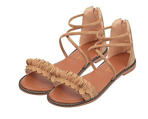 Femmes Zipper Femmes Big Femmes Flats Chaussures xie Sandales Robes 39 Party Chaussures Boys brown Étudiants 35 Skid wHpqtSvn