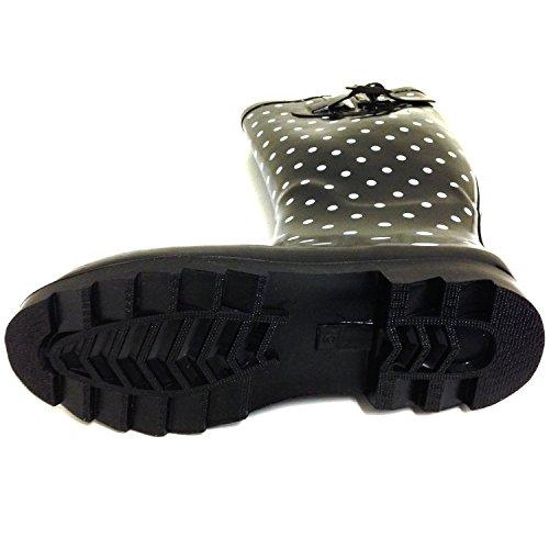 Calf Knee Fashion Buckle Snow Multiple Wellies Adjustable Mid Rubber Styles Dots Women's Rain High Black SBC Boots xqSn0vAHXw