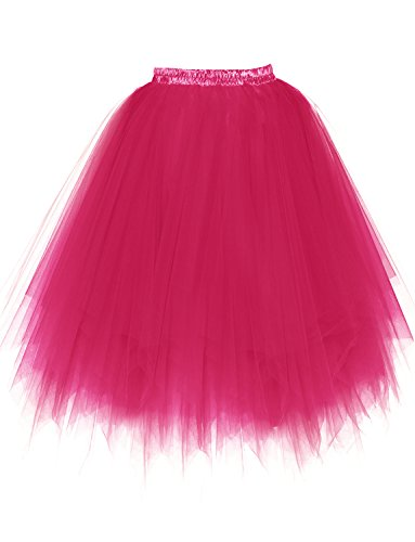 BeiQianE Femmes Annes 50 Long Jupon Multi-Couche Tulle Crinoline Slips Ballet Bubble Tutu Jupe 65 cm Rose Rouge