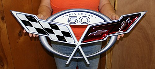 C5 Corvette 50th Anniversary Metal Wall Sign - 32