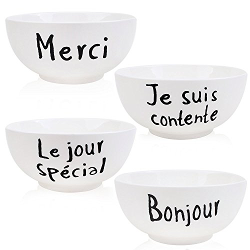 YALONG 25-Ounce Set of 4,6 Inch White Porcelain Cereal Soup and Salad Bowls for Child, Assorted French Words Patterns for Mother's Day Gift ()