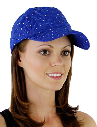 Royal Blue Sequin (Glitter Sequin Trim Baseball Cap One Size - Royal Blue)