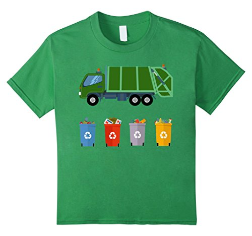 Kids Recycling Trash Truck Shirt Kids Garbage Truck T-Shirt 4 Grass
